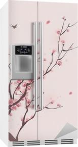 Orientalsk stil maleri, kirsebærblomst i foråret Køleskab klistermærke
