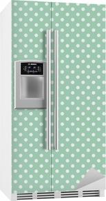 Polka prikker på frisk mynte baggrund sømløs vektor mønster Køleskab klistermærke