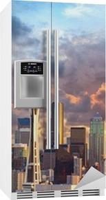 Seattle skyline ved solnedgang, WA, USA Køleskab klistermærke