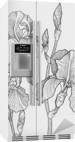Skitse af buket blomstrende iriser Køleskab Klistermærke