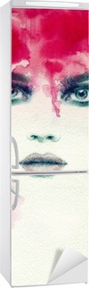 Smuk kvinde. akvarel illustration Køleskab Klistermærke