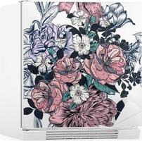 Smukt sømløst mønster med håndtegnede roser og blomstrer Køleskab Klistermærke