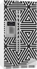 Triangler, sort / hvid abstrakt sømløs geometrisk mønster, Køleskab Klistermærke