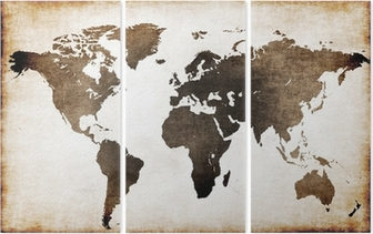Vanha maailman kartta Kolmiosainen