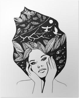 Kuvitus, graafinen mustavalkoinen muotokuva naisesta Korkealaatuinen Juliste