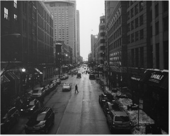 Mustavalkoinen chicago kaduilla Korkealaatuinen Juliste