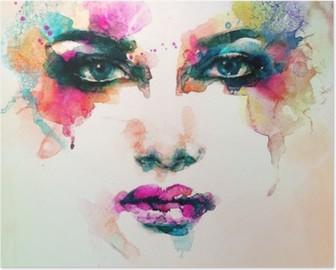 Nainen muotokuva. abstrakti vesiväri. muodin tausta Korkealaatuinen Juliste