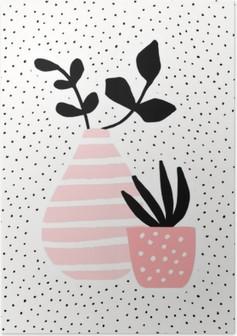 Vaaleanpunainen maljakko ja kasvi kasveilla Korkealaatuinen Juliste