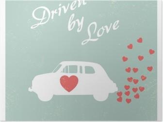 Vintage auto ajaa rakkauden romanttinen postikortti suunnittelu valentine kortti. Korkealaatuinen Juliste