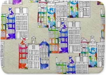 Koupelnová předložka Bezproblémové vzory budov akvarel amsterdam