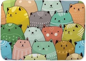 Koupelnová předložka Kočky bezešvé vzor