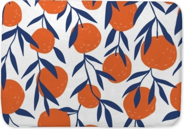 Koupelnová předložka Tropické bezešvé vzor s červenými pomeranči. ovoce opakované pozadí. vektor jasný tisk pro textilie nebo tapety.