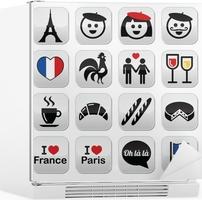 Frankreich Ich Liebe Paris Vektor Icons Gesetzt