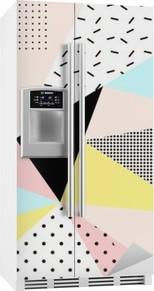 Kühlschrankaufkleber Geometrische memphis background.Retro Design für die Einladung, Visitenkarte, Poster oder Banner.