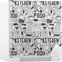 Kühlschrankaufkleber Küchenelemente Doodles Hand gezeichnet Linie Symbol, eps10