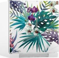 Kühlschrankaufkleber Muster mit Hibiskus- und Orchideenblättern, Aquarell