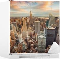 Kühlschrankaufkleber New York City bei Sonnenuntergang mit Blick auf Manhattan