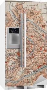 Kühlschrankaufkleber Vintage Karte von Erfurt