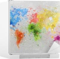 Kühlschrankaufkleber Weltkarte Malerei