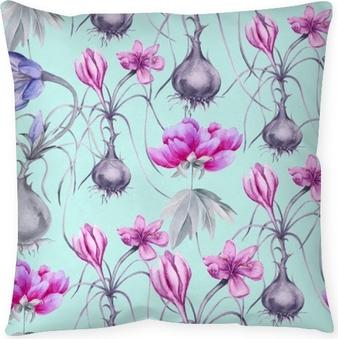 Kussensloop Achtergrond van een krokusbloem met een wortel. naadloos patroon.
