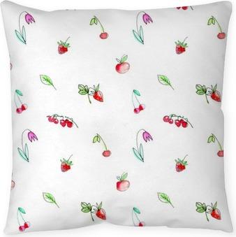 Kussensloop Naadloos patroon met tuin fruit en berries.Cherry, frambozen, bessen, aardbei, appel en bloem. Aquarel hand getekende illustration.White achtergrond.