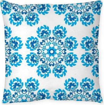 Kussensloop Naadloze blauwe bloemen Poolse volkskunst pattern - Wycinanki
