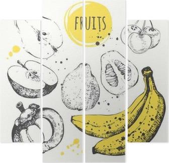 Kwadryptyk Banan, mangostan, jabłko, bergamotka. Ręcznie rysowane zestaw ze świeżą żywnością.