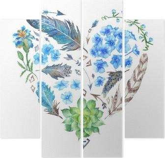 Kwadryptyk Boho Style Watercolor Heart Shape