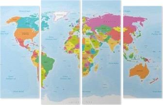 Kwadryptyk Planisphère Mappemonde. Textes pl vectorisés Français