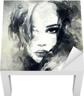 Lack-Bord Finér Abstrakt kvinne portrett