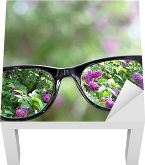 0baaa4d4d108 Plakat Briller i hånden over sløret bakgrunn • Pixers® - Vi lever for  forandring