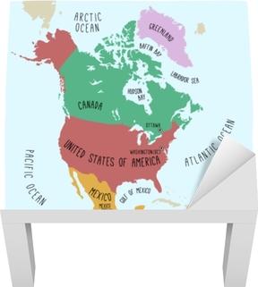 Handtegnet Vektor Kort Over Amerikaerne Farverig Tegneserie Stil
