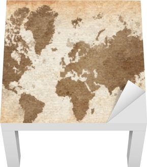 Kort over verden med en struktureret baggrund Lack bord klistermærke