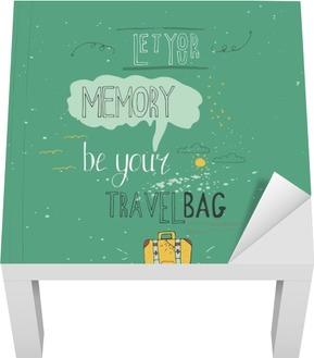 Lad din hukommelse være din rejsetaske. Vintage vektor inspirerende og motiverende plakat med citat. Livsstil koncept. T-shirt, kort design eller boligindretning element. Vector typografi Lack bord klistermærke