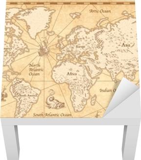 Vintage illustreret verdenskort Lack bord klistermærke