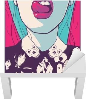 Çizgi roman tarzı çizim çekici kız t shirt baskı tasarım illüstrasyon