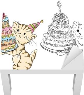 Doğum Günü Pastası Ile Karikatür Kedi Ile Boyama Kitabı Poster