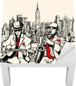 Kaksi jazz-miestä, jotka pelaavat New Yorkissa Lack-pöydän Pinnoitus