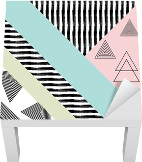 Abstract hand drawn geometric pattern Lack Table Veneer