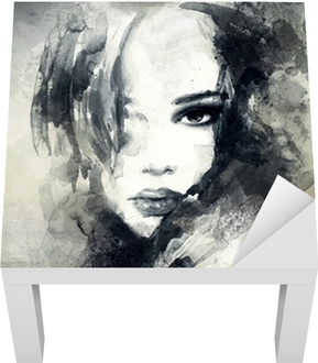 abstract woman portrait Lack Table Veneer