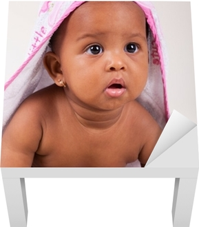 Adorable little african american baby girl Lack Table Veneer