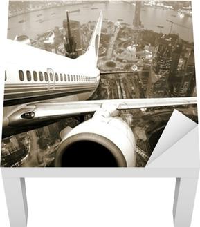 Airplane take off from the city Lack Table Veneer