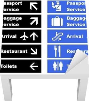 Airport Signs Lack Table Veneer