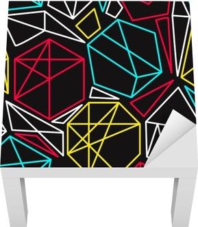 Cmyk concept vector geometric seamless pattern in vivid colors Lack Table Veneer