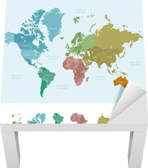 Continents and countries on the world map marked colored highly continents and countries on the world map marked colored highly detailed world map vector illustration wall mural pixers we live to change gumiabroncs Gallery