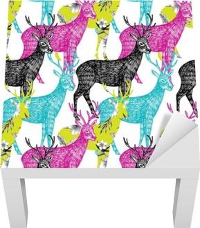 deer hand drawn seamless background Lack Table Veneer