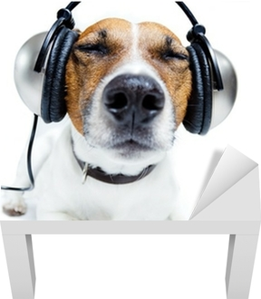 Dog listening music Lack Table Veneer