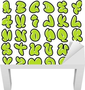 funny green glossy bubble font graffiti alphabet