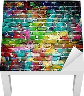 graffiti brick wall Lack Table Veneer