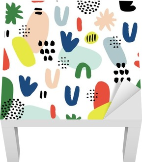 Hand drawn seamless pattern in modern style. Design for poster, card, invitation, placard, brochure, flyer, textile. Lack Table Veneer